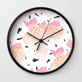 Modern pink ombre coral watercolor floral illustration pattern black brushstrokes Wall Clock