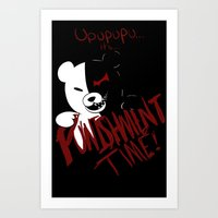 dangan ronpa Art Prints featuring Dangan Ronpa: Monokuma's Punishment by Michelle Rakar