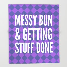 Messy Bun & Getting Stuff Done (Purple Checkered Pattern) Throw Blanket