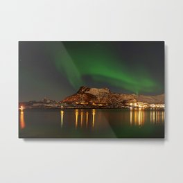 Landscape with the Northern Lights Metal Print
