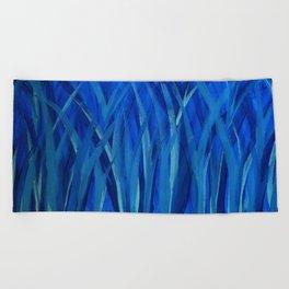 Grassy Grass Blue Beach Towel
