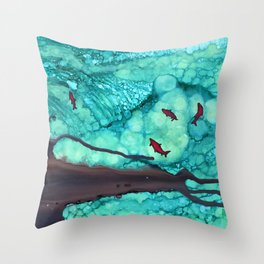Abstract Spawn - alcohol ink Throw Pillow