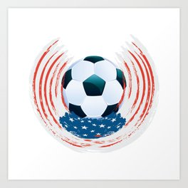 Football Ball and red, white Strokes Art Print