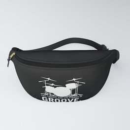 Life, Liberty, and the pursuit of Groove, drummer's drum set silhouette illustration Fanny Pack