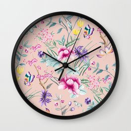 Floral Chinoiserie - Pale Dogwood Wall Clock