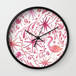 Flamingos at the Beach Wall Clock