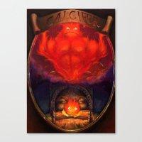 calcifer Canvas Prints featuring Calcifer by Michele Giorgi