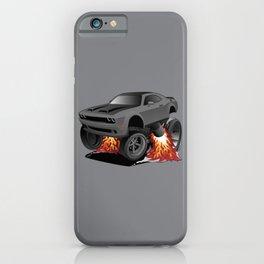 Modern American Muscle Car Cartoon Illustration iPhone Case