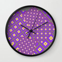 GREY PURPLE CREAM MODERN SQUARES ART Wall Clock