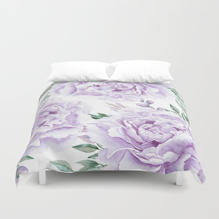 Pretty Purple Flower Garden Duvet Cover