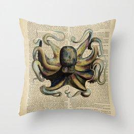 Book Art Octopus Color Throw Pillow