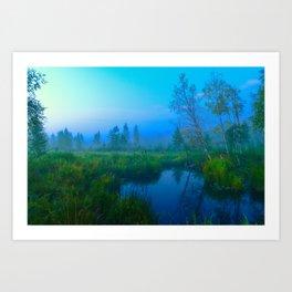 Misty dawn in a wild forest area Art Print