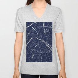 Paris France Minimal Street Map - Navy Blue and White Reverse Unisex V-Neck