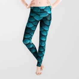 Beach house aqua blue mermaid fish Scales Leggings