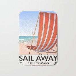 Sail Away Deckchair travel poster Bath Mat