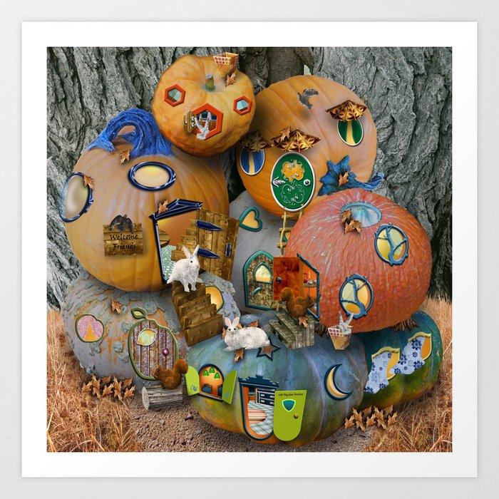 Fall Pumpkin Fantasy Tiny House Village Art Print
