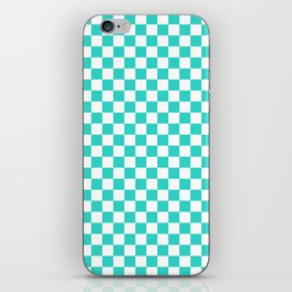 Small Checkered - White and Turquoise iPhone Skin