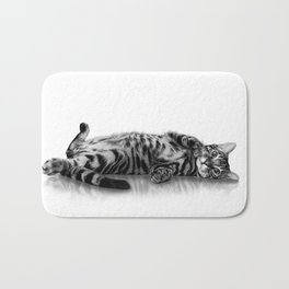 Bengal Cat/kitten on white Bath Mat
