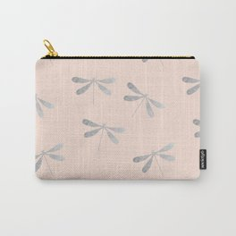 dragonfly pattern: silver & rose Carry-All Pouch