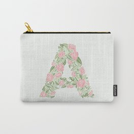 Floral Type - Letter A - Cream and Pink Carry-All Pouch