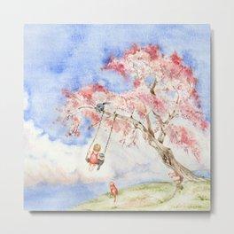Girl on a Sakura Tree Swing with Cats Metal Print