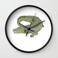 crocodile Wall Clocks featuring Crocodile by Melrose Illustrations