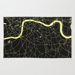 London Black on Yellow Street Map Rug