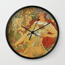 Alphonse Mucha - Autumn 1896 Wall Clock