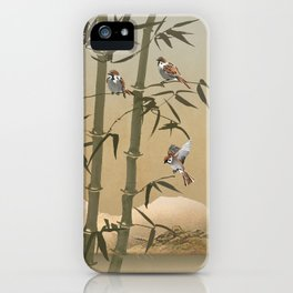 Sparrows And Bamboo iPhone Case