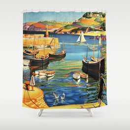 Vintage St. Ives Cornwall England Travel Shower Curtain