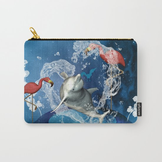Dolphin jumping by a heart Carry-All Pouch