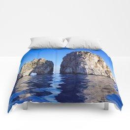 Faraglioni Rocks of the coast of the island of Capri, Italy Comforters