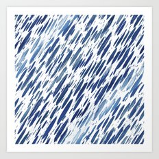 Boho Blue Brushstroke Art Print
