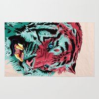 tiger Area & Throw Rugs featuring Tiger by Roland Banrevi