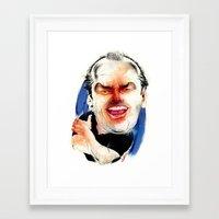 jack nicholson Framed Art Prints featuring Jack Nicholson by drawgood