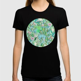 Improbable Botanical with Dinosaurs - soft pastels T-shirt