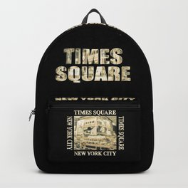 Times Square New York City (golden glow on black) Backpack