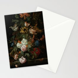 """Ernest Stuven """"Still life of flowers in a glass vase with a butterfly on a ledge"""" Stationery Cards"""