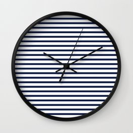 Navy Blue Nautical Stripes Minimal Wall Clock