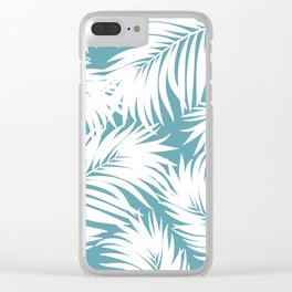 Palm Tree Fronds White on Soft Blue Hawaii Tropical Décor Clear iPhone Case