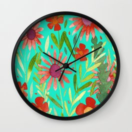 Flower Burst Orange and Turquoise, floral pattern design Wall Clock