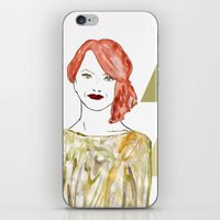 emma stone iPhone & iPod Skins featuring Emma by Kats Illustration