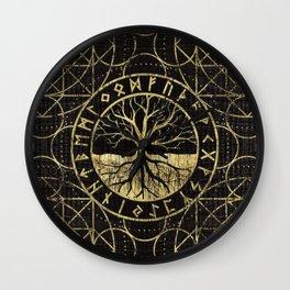 Tree of life  -Yggdrasil and  Runes Wall Clock