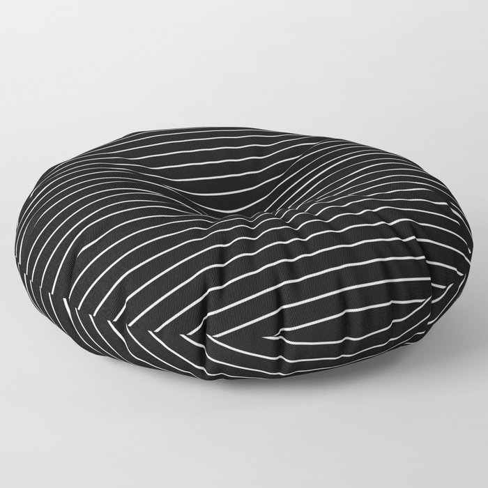 Thin White Lines - Blakc and white stripes Floor Pillow