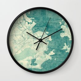 Rio de Janeiro Map Blue Vintage Wall Clock