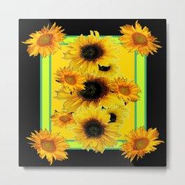 Black Sunflowers Pattern  Lime Color Floral Art Metal Print