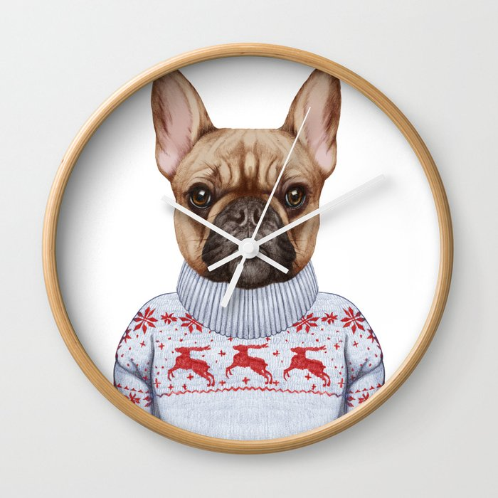 Animals as a human. French Bulldog in down vest and sweater. Wall Clock