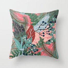 modern christmas abstract floral illustration pink blue green pattern Throw Pillow