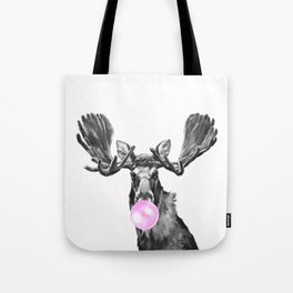 Bubble Gum Moose in Black and White Tote Bag