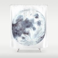 the moon Shower Curtains featuring Moon by Bridget Davidson